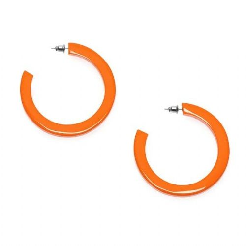 Branch Jewellery Orange Lacquered Buffalo Horn Large Flat Shaped Hoop Earrings